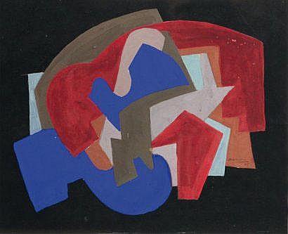 Andrée SIMON (1896-1981) Composition Gouache sur