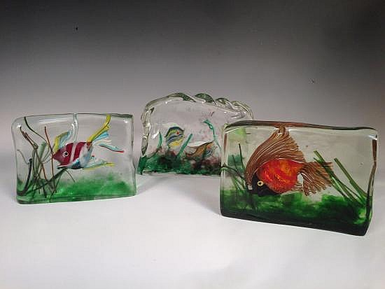 Attributed to Gino Cenedese, three Murano glass Aquarium blocks,
