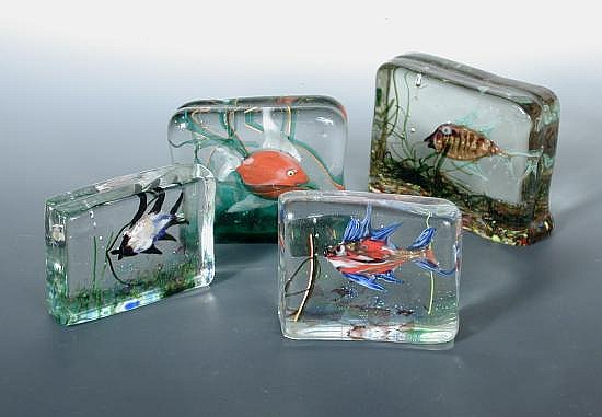 Attributed to Gino Cenedese, four small Murano glass Aquarium blocks,