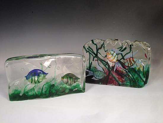 Attributed to Gino Cenedese, two large Murano glass Aquarium blocks,