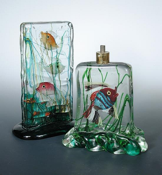 Attributed to Gino Cenedese, a Murano glass Aquarium block lamp base,