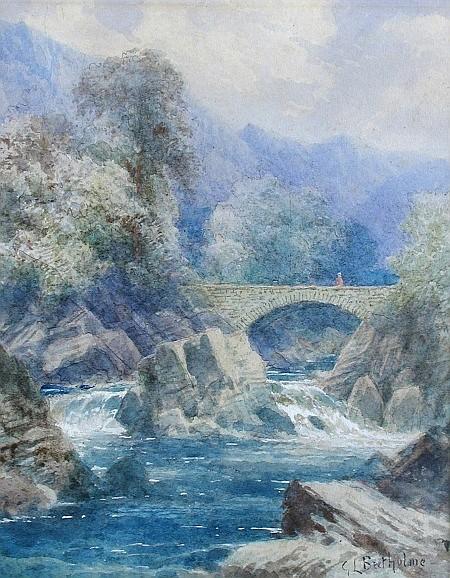 George Law Beetholme (British, 19th Century) - The Lledr Bridge -