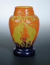 Le Verre Francais, a cameo glass vase by Schneider,