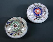 Two early Ysart magnum glass paperweights, possibly by Salvador Ysart,