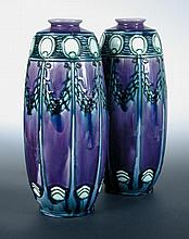 A pair of Minton Secessionist vases, probably designed by Leon Solon,