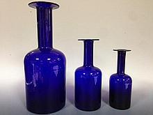 A graduated set of three Holmegaard Gul vases,