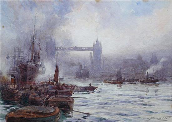 Percy Robertson (British, 1869-1934) The Isle of Dogs at Sunrise; and Tower Bridge, London signed and dated 1890