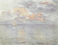 Jessica Dismorr (British, 1885-1939) Seascape with sunset, circa 1907
