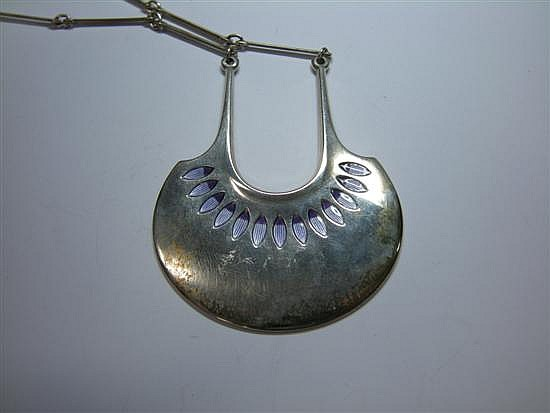 David Andersen, A Norwegian metalwares and enamel pendant and chain,