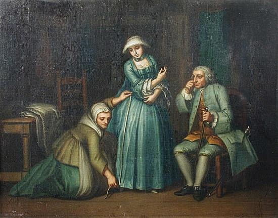 Hieronymus Lapis (Italian, 1723-1798) - At the Dressmaker - oil on canvas (a pair)