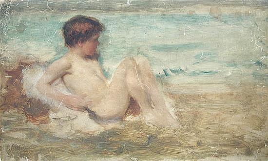John Macallan Swan (1847-1910)  - Boy on the Sea Shore