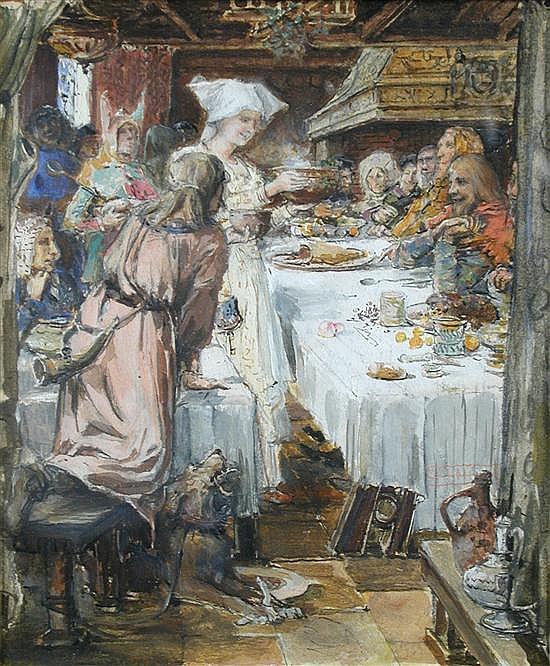 John Macallan Swan, RA (British, 1847-1910) - Ye Wassail Bowl  - watercolour