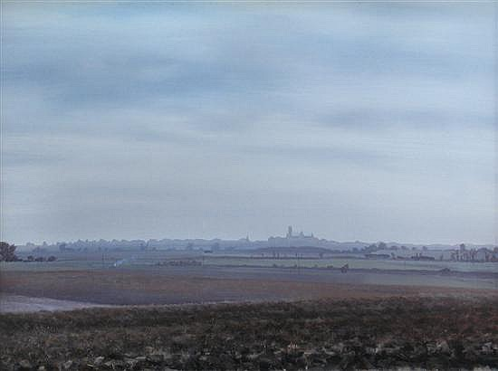 Anthony Day (British, 20th Century) Ely from Mainey Hill  signed lower right