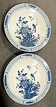 A pair of 19th century blue and white dishes,