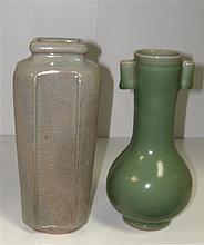 A celadon arrow vase and a pale blue glazed vase,