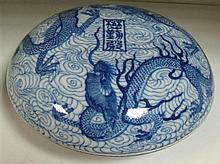 A Qianlong style blue and white box and cover