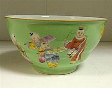 A Qianlong style green ground bowl,