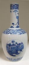 A Kangxi style blue and white bottle vase,