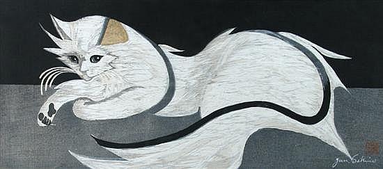 Jun'ichiro Sekino(1914-88), a wood block print of an 'Angora' cat, circa 1956,
