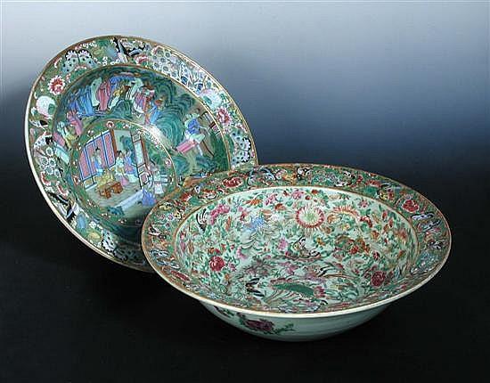 A 19th century Canton celadon ground bowl,