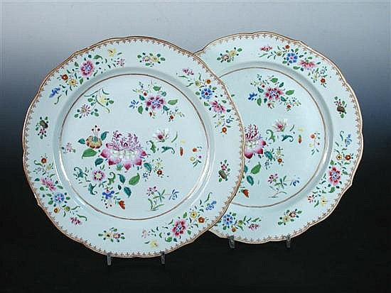 A pair of 18th century famille rose dishes