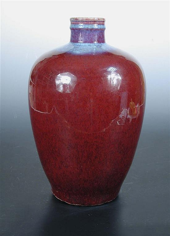 A 19th century flambe ovoid vase,
