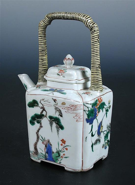 A famille verte tea pot and cover, period of Kangxi,
