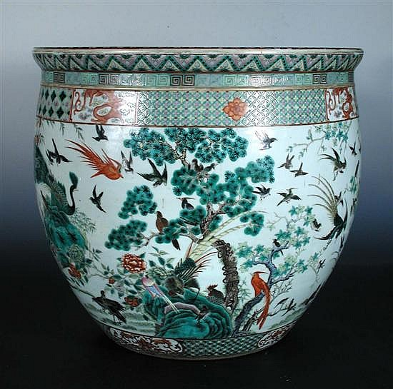 A 19th century famille rose fish bowl,