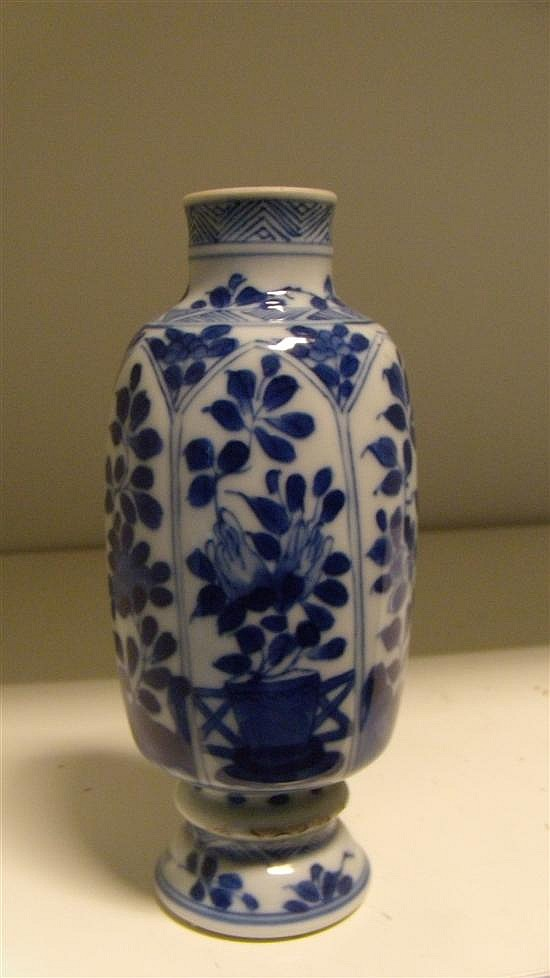 A blue and white small vase, period of Kangxi,