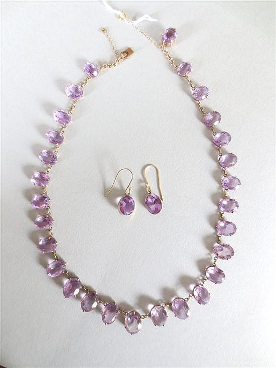 An amethyst rivière necklace and matched earpendant suite,
