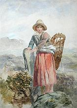Paul Falconer Poole, RA, RI (British, 1807-1879) A peasant girl collecting kindling inscribed