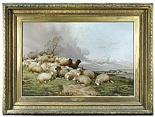 David Horatio Winder (British, 1855-1933) A Group of Sheep, Morning signed lower centre