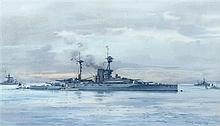 § Frank Watson Wood (British, 1862-1953) HMS Revenge signed and dated lower right 'Frank Wood 1918