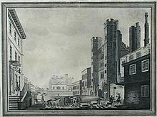 Circle of Paul Sandby (British, 1725-1809) A View of St James's Gate, London, from Cleveland Row, with a Sedan Chair passing by and...