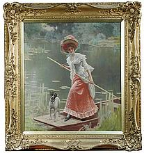 § Joseph Lucian Davies, RI (British, 1860-1951) Across the lake signed lower left