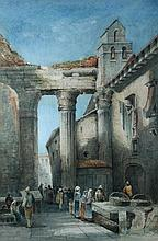 Charles Peter Pill (British, 19th Century) Italian Street Scenes signed lower left