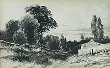 John Constable, RA (British, 1776-1837) Cottage with a figure, circa 1830-35