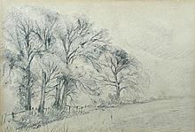 Attributed to Lionel Constable (British, 1828-1887) Trees by the edge of a Field