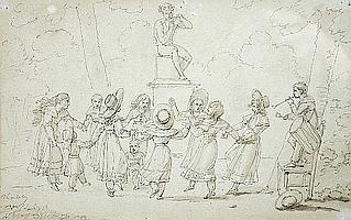 Jean-Henri Marlet (French, 1771-1847) - A Musician playing to Children Dancing around a statue of Pan - signed lower left