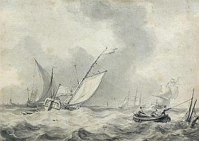 Martinus Schouman (Dutch, 1770-1848) - Sailing Ships in a Storm, with Fishermen in a Rowing Boat rescuing Timber - watercolour
