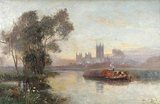 Stuart Lloyd, RBA (British, fl.1875-1929) - Canterbury from the Stour with a Barge in the Foreground - oil