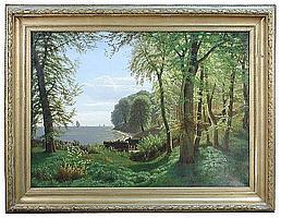 Eiler Rasmussen Eilersen (Danish, 1827-1912) - Cottages and sailing ships' - oil on canvas
