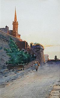 "General Peter Nicholas Krasnoff (Russian, 1869-1947) - View in Malta with a Church - signed lower right ""Malta, N Krasnoff"""