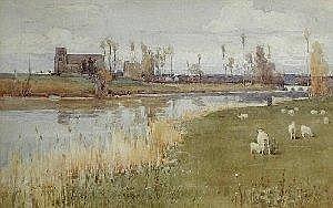 Albert Ernest Brockbank, RBA (1862-1958) The Water Meadows, Grez, Seine-et-Marne, signed lower left