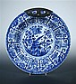 A blue and white dish, six character mark and period of Kangxi,