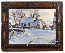 § Christian Jane Fergusson (Scottish, 1876-1957) - Dumfries farmhouse in the snow - oil on board