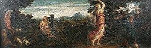 Andrea Meldolla, called Lo Schiavone (1510-1563) A Mythological Scene with Ceres, Pomona, Pan and other Figures in a Landscape oil on panel 27 x 84cm Provenance: The Marquess of Northampton; by descent to Lady Loch, and her family This panel was