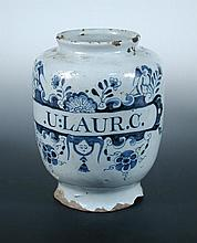 A mid 18th century English Delft blue and white drug jar, possibly London,