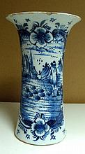 A mid 18th century Delft blue and white vase,