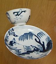 A Chaffer's Liverpool blue and white tea bowl and a chinoiserie saucer,